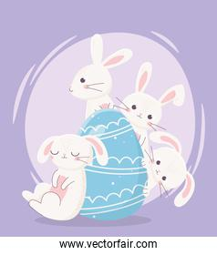 happy easter day, white rabbits decorative blue egg cartoon