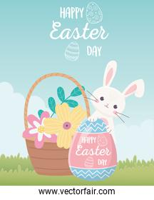 happy easter day, rabbit with lettering painted egg flowers in basket decoration