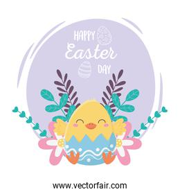 happy easter day, chicken in eggshell flowers decoration