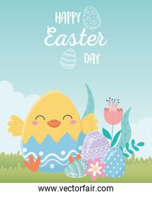 happy easter day, chicken eggshell with flowers eggs in grass