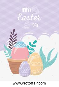 happy easter day, egg in basket eggs decoration foliage