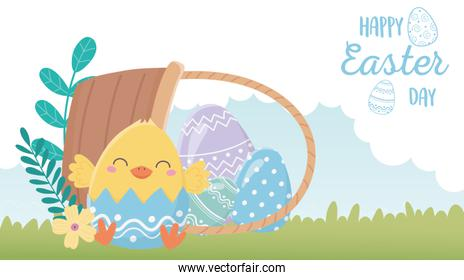 happy easter day, chicken eggshell flowers eggs in basket grass