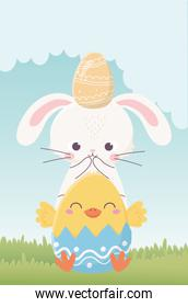 happy easter day, rabbit with egg in head and chicken in eggshell nature