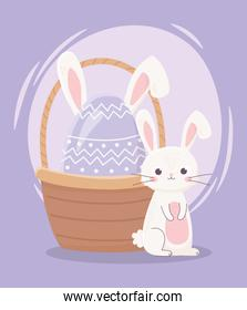 happy easter day, cute rabbit and egg with ears in basket