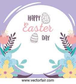 happy easter day, eggs flowers foliage leaves nature banner decoration