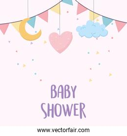 baby shower card with heart, cloud, moon and garlands hanging