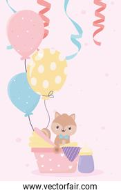 baby shower squirrel in with balloons card cartoon decoration