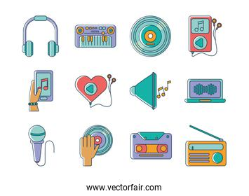 music melody sound audio icons set line and fill style