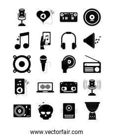 music melody sound audio icons set silhouette style icon