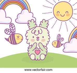 cute bunny sitting in grass with clouds sun cartoon