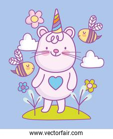 cute little mouse party hat flowers cartoon