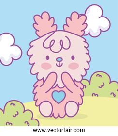 cute pink adorable bunny sitting in grass clouds cartoon