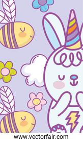 cute lovely bunny party hat bees flowers cloud cartoon