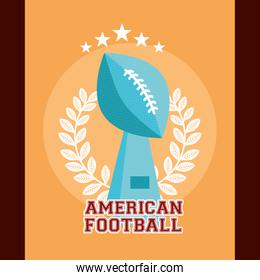 american football sport poster with trophy balloon