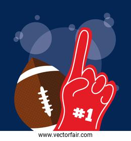 american football sport poster with balloon and first glove