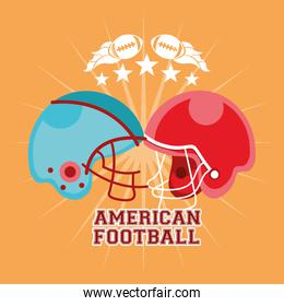 american football sport poster with helmets