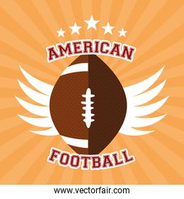 american football sport poster with balloon and wings