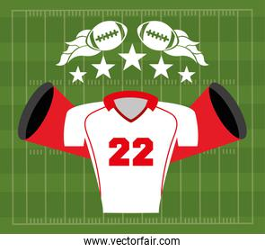 american football sport poster with shirt uniform