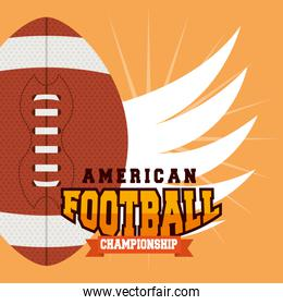 american football poster with balloon and wings