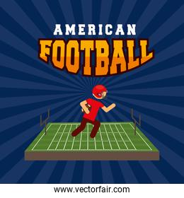 american football sport poster with player in camp