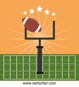 american football sport poster with balloon and goal camp arch