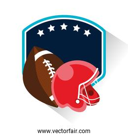 american football sport poster with balloon and helmet