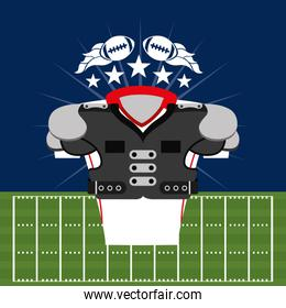 american football sport cartel with front shirt equipment