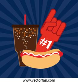 american football sport poster with fast food and first glove