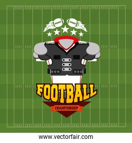 american football sport poster with front shirt equipment