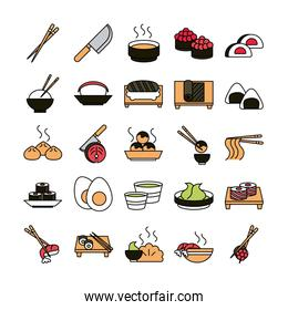 sushi oriental menu icons set line and fill style icon