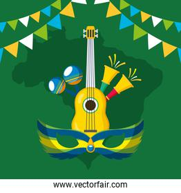 canival of rio brazilian celebration with musical instruments