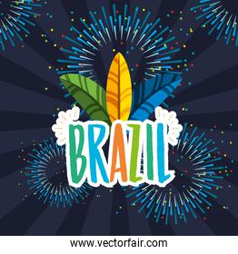canival of rio brazilian celebration with feathers hat and lettering poster