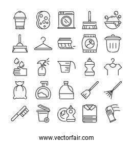 cleaning, domestic hygiene icons set domestic hygiene line style icon