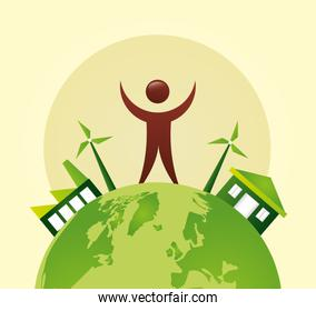 eco friendly poster with earth planet and human figure