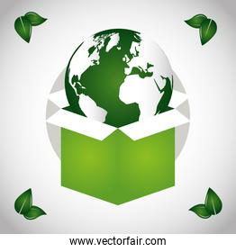 eco friendly poster with earth planet in box