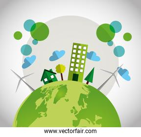 eco friendly poster with buildings city