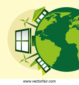 eco friendly poster with earth planet and panel solar
