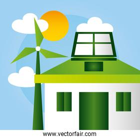 eco friendly poster with house and windmill energy