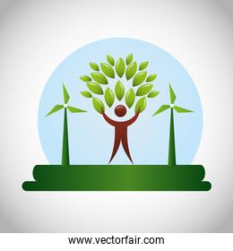 eco friendly poster with human figure and leafs