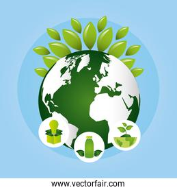 eco friendly poster with earth planet and leafs plant