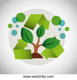eco friendly poster with plant and recycle icon