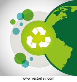 eco friendly poster with earth planet and recycle symbol