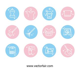 cleaning, domestic hygiene icons set domestic hygiene block color style icon
