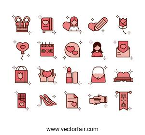 mothers day, celebration party event icons set line and fill style icon