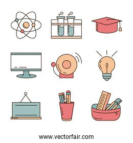 school education learn supply stationery icons set line and fill style icon