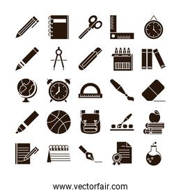 school education learn supply stationery icons set silhouette style icon