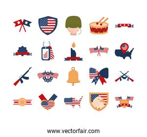memorial day american national celebration icons set flat style icon