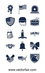 memorial day american national celebration icons set silhouette style icon