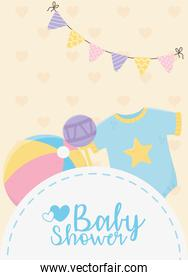 baby shower, blue bodysuit rattle and ball pennants decoration