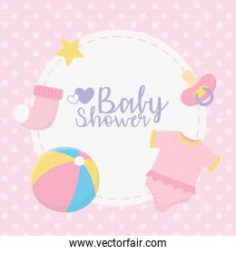 baby shower, pink bodysuit ball sock pacifier stars round label dots background